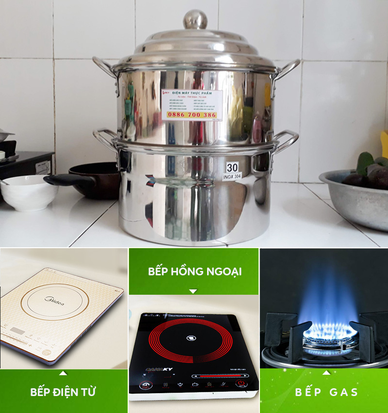 Bộ nồi hấp inox sử dụng trên các loại bếp